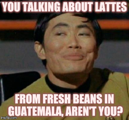 Sulu knows what you're talking about,,, | YOU TALKING ABOUT LATTES FROM FRESH BEANS IN GUATEMALA, AREN'T YOU? | image tagged in sulu knows what you're talking about   | made w/ Imgflip meme maker