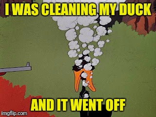 I WAS CLEANING MY DUCK AND IT WENT OFF | made w/ Imgflip meme maker