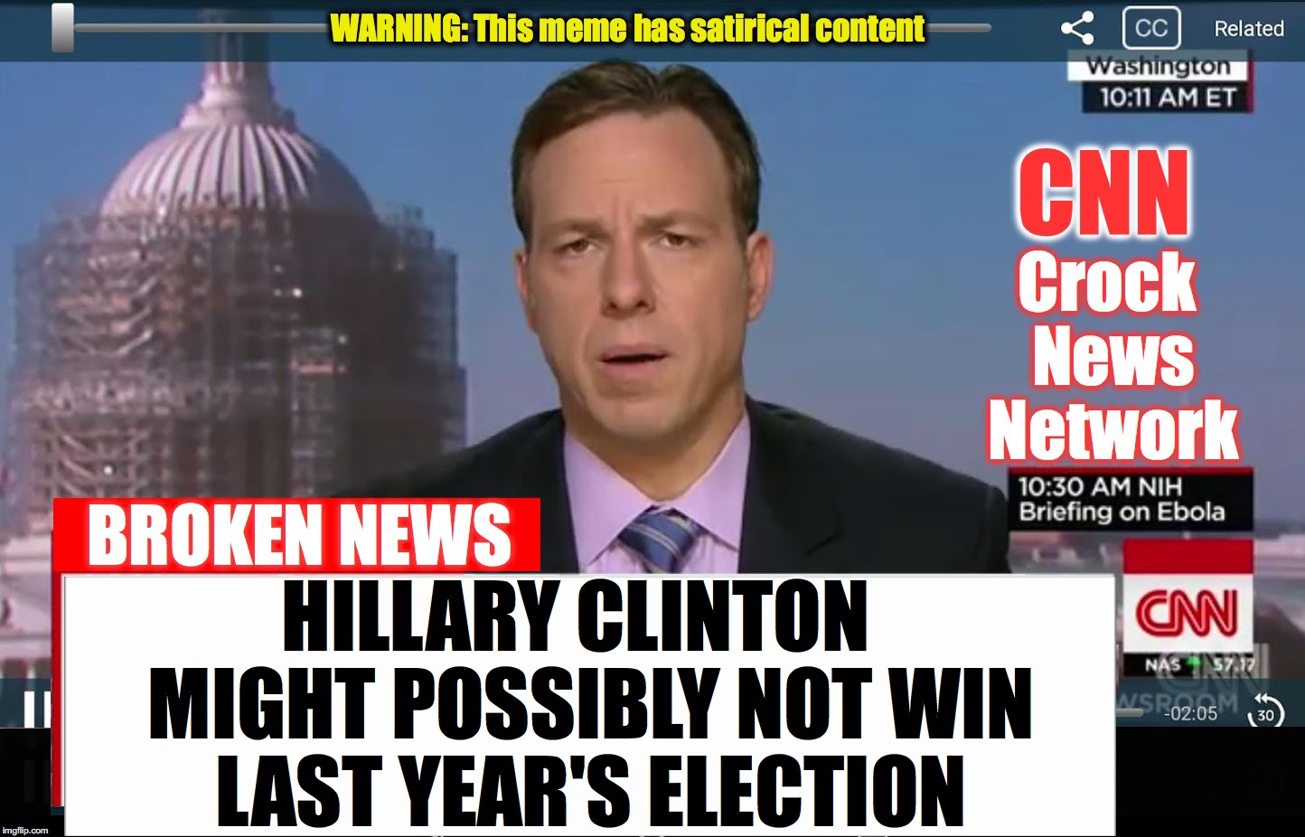CNN Crock News Network | HILLARY CLINTON  MIGHT POSSIBLY NOT WIN LAST YEAR'S ELECTION | image tagged in cnn crock news network | made w/ Imgflip meme maker