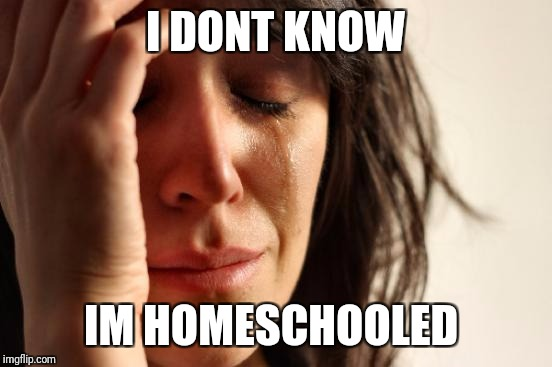 First World Problems Meme | I DONT KNOW IM HOMESCHOOLED | image tagged in memes,first world problems | made w/ Imgflip meme maker
