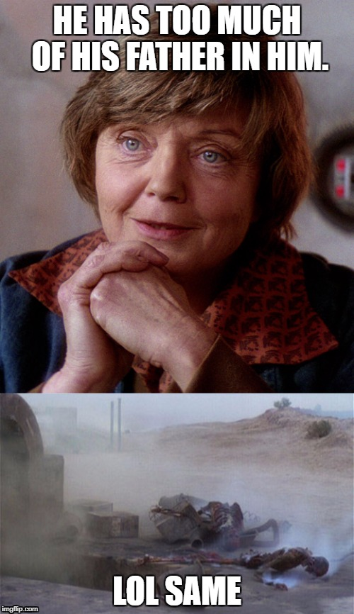 HE HAS TOO MUCH OF HIS FATHER IN HIM. LOL SAME | image tagged in star wars,beru | made w/ Imgflip meme maker