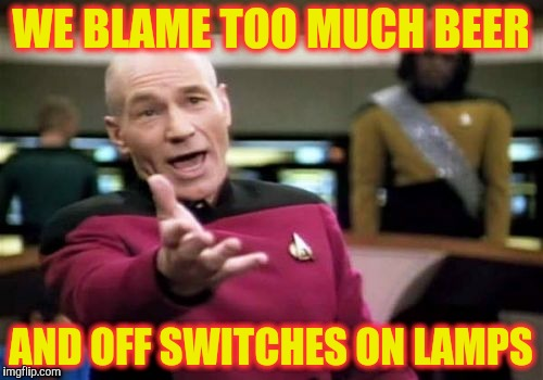 Picard Wtf Meme | WE BLAME TOO MUCH BEER AND OFF SWITCHES ON LAMPS | image tagged in memes,picard wtf | made w/ Imgflip meme maker