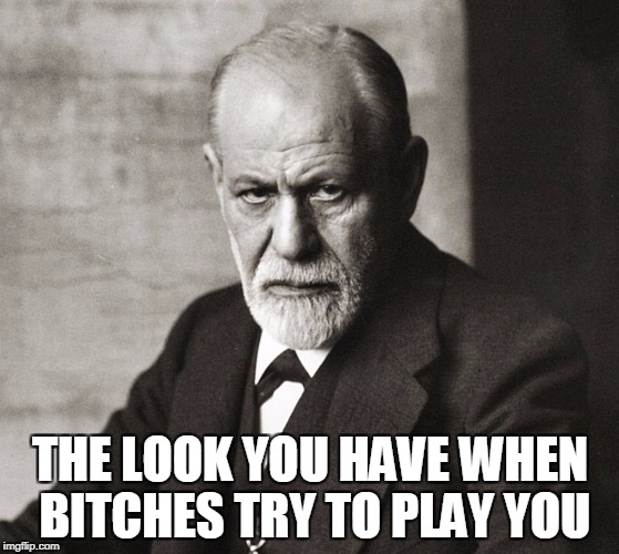 When bitches try to play you | THE LOOK YOU HAVE WHEN B**CHES TRY TO PLAY YOU | image tagged in bitch please,bitches,funny,funny memes,sigmund freud | made w/ Imgflip meme maker