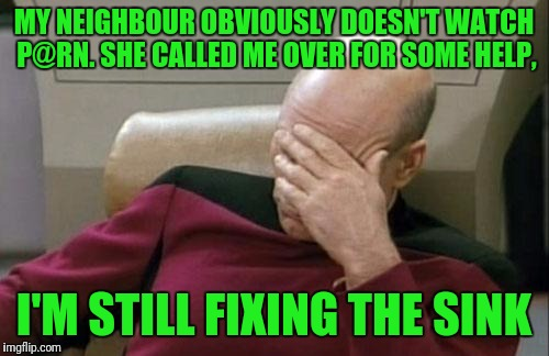Saw something like this today, laughed, now I'm sharing, so you too can laugh. | MY NEIGHBOUR OBVIOUSLY DOESN'T WATCH P@RN. SHE CALLED ME OVER FOR SOME HELP, I'M STILL FIXING THE SINK | image tagged in memes,captain picard facepalm,sewmyeyesshut | made w/ Imgflip meme maker