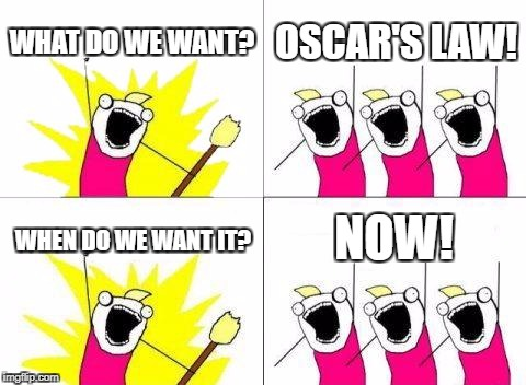 What Do We Want Meme | WHAT DO WE WANT? OSCAR'S LAW! WHEN DO WE WANT IT? NOW! | image tagged in memes,what do we want | made w/ Imgflip meme maker