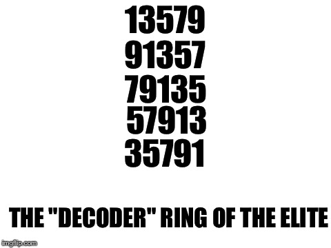 "blank white template | 13579 THE ""DECODER"" RING OF THE ELITE 91357 79135 57913 35791 