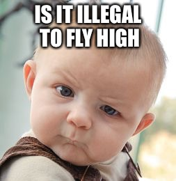 Skeptical Baby Meme | IS IT ILLEGAL TO FLY HIGH | image tagged in memes,skeptical baby | made w/ Imgflip meme maker