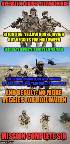 OPERATION ORDER YELLOW HOUSE SITUATION: YELLOW HOUSE GIVING OUT VEGGIES FOR HALLOWEEN MISSION: TO ENSURE THIS DOESN'T HAPPEN AGAIN EXECUTION | made w/ Imgflip meme maker