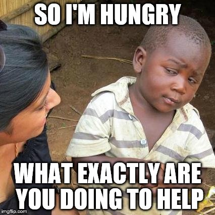 Third World Skeptical Kid Meme | SO I'M HUNGRY WHAT EXACTLY ARE YOU DOING TO HELP | image tagged in memes,third world skeptical kid | made w/ Imgflip meme maker