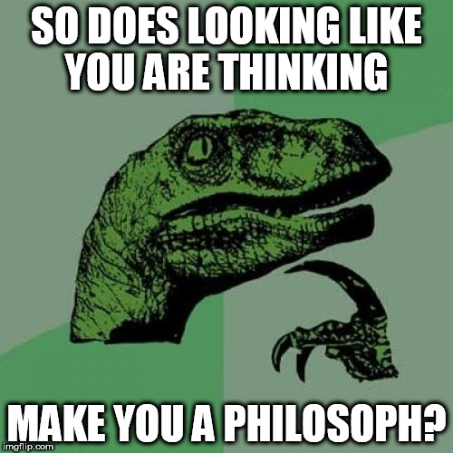 Philosoraptor Meme | SO DOES LOOKING LIKE YOU ARE THINKING MAKE YOU A PHILOSOPH? | image tagged in memes,philosoraptor | made w/ Imgflip meme maker
