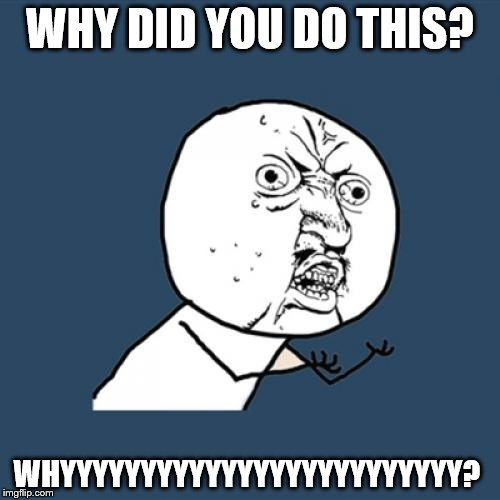 Y U No Meme | WHY DID YOU DO THIS? WHYYYYYYYYYYYYYYYYYYYYYYYYY? | image tagged in memes,y u no | made w/ Imgflip meme maker