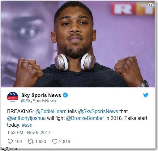 Anthony Joshua Will Almost Certainly Fight Deontay Wilder