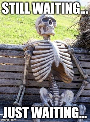 Waiting Skeleton Meme | STILL WAITING... JUST WAITING... | image tagged in memes,waiting skeleton | made w/ Imgflip meme maker