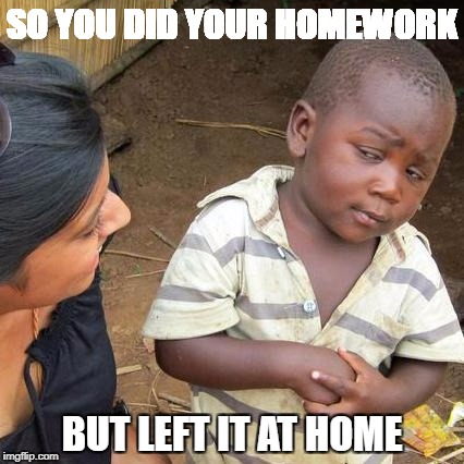 Third World Skeptical Kid Meme | SO YOU DID YOUR HOMEWORK BUT LEFT IT AT HOME | image tagged in memes,third world skeptical kid | made w/ Imgflip meme maker