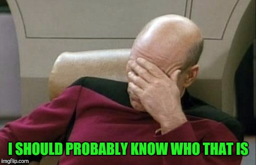 Captain Picard Facepalm Meme | I SHOULD PROBABLY KNOW WHO THAT IS | image tagged in memes,captain picard facepalm | made w/ Imgflip meme maker