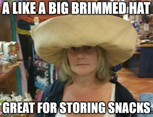 Big Brimmed Hat | A LIKE A BIG BRIMMED HAT GREAT FOR STORING SNACKS | image tagged in somewhat funny | made w/ Imgflip meme maker