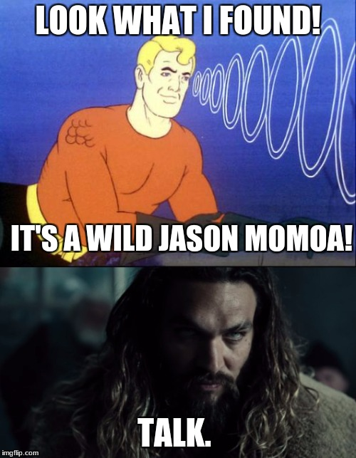 When the old meet the young - Aquaman | LOOK WHAT I FOUND! IT'S A WILD JASON MOMOA! TALK. | image tagged in memes,aquaman,justice league,jason momoa,fish,dude | made w/ Imgflip meme maker