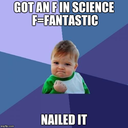 Success Kid Meme | GOT AN F IN SCIENCE F=FANTASTIC NAILED IT | image tagged in memes,success kid | made w/ Imgflip meme maker