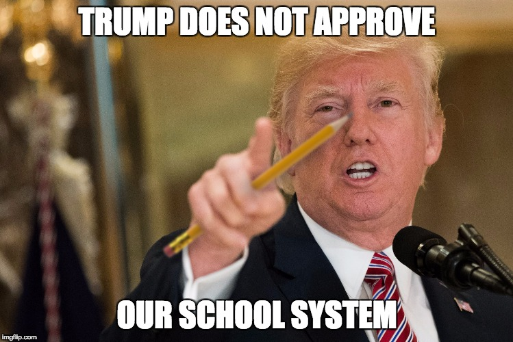 TRUMP DOES NOT APPROVE OUR SCHOOL SYSTEM | image tagged in donald trump,school,memes,pencils,funny | made w/ Imgflip meme maker