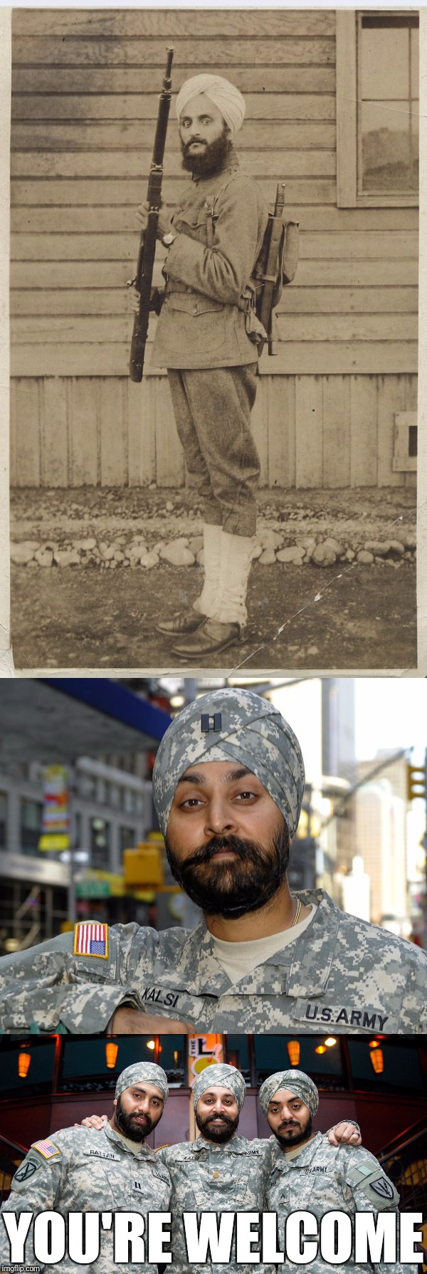 VETERANS DAY SALUTE! SIKHS HAVE SERVED IN THE US MILITARY SINCE WWI. THANK YOU FOR YOUR SERVICE. | YOU'RE WELCOME | image tagged in memes,us army,sikh,veterans day,thank you,you're welcome | made w/ Imgflip meme maker