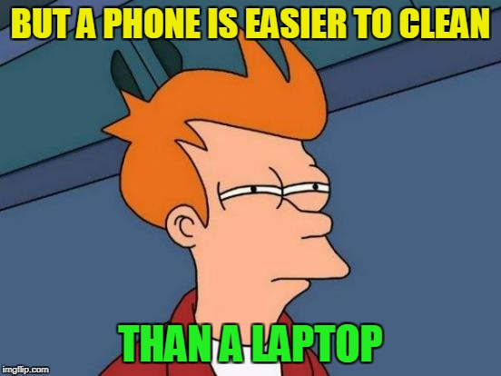 Futurama Fry Meme | BUT A PHONE IS EASIER TO CLEAN THAN A LAPTOP | image tagged in memes,futurama fry | made w/ Imgflip meme maker