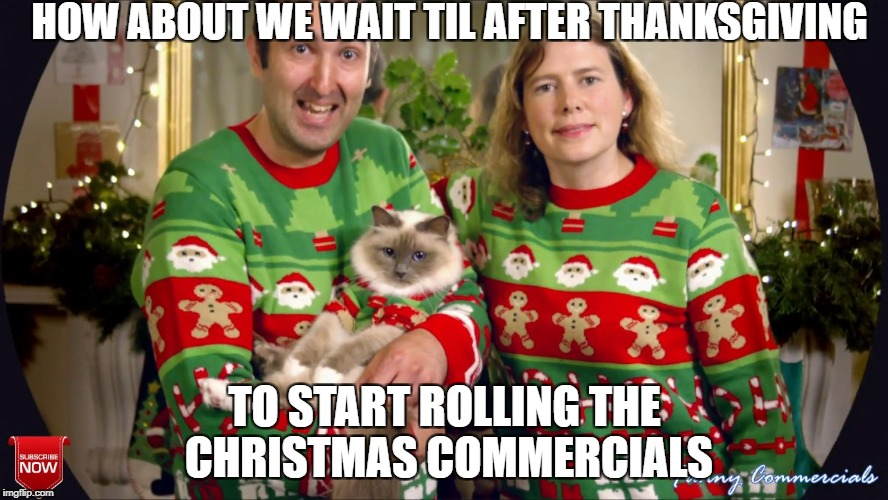 November | HOW ABOUT WE WAIT TIL AFTER THANKSGIVING TO START ROLLING THE CHRISTMAS COMMERCIALS | image tagged in what about thanksgiving | made w/ Imgflip meme maker