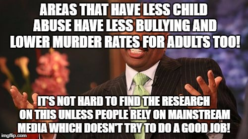 Steve Harvey Meme | AREAS THAT HAVE LESS CHILD ABUSE HAVE LESS BULLYING AND LOWER MURDER RATES FOR ADULTS TOO! IT'S NOT HARD TO FIND THE RESEARCH ON THIS UNLESS | image tagged in memes,steve harvey | made w/ Imgflip meme maker