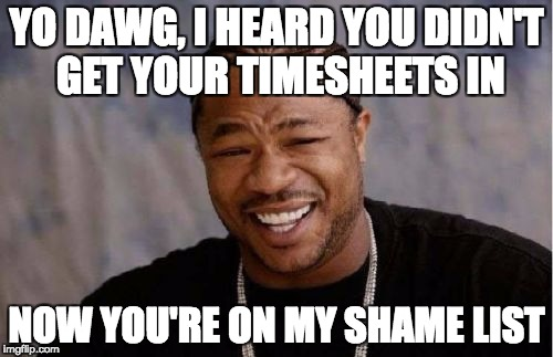 Yo Dawg Heard You | YO DAWG, I HEARD YOU DIDN'T GET YOUR TIMESHEETS IN NOW YOU'RE ON MY SHAME LIST | image tagged in memes,yo dawg heard you,timesheets,timesheet,time sheet | made w/ Imgflip meme maker