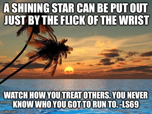 Palm trees, sunset | A SHINING STAR CAN BE PUT OUT JUST BY THE FLICK OF THE WRIST WATCH HOW YOU TREAT OTHERS. YOU NEVER KNOW WHO YOU GOT TO RUN TO. -LS69 | image tagged in palm trees sunset | made w/ Imgflip meme maker