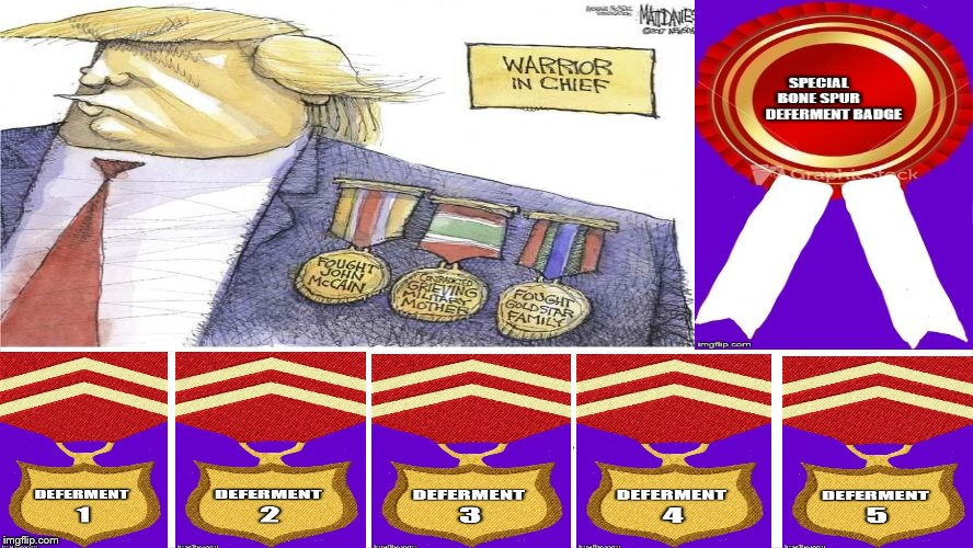 "The trump ShowsOffHis""I Love The Military, Veterans, GoldStar Families KIA Grieving FamilesI""+Deferment BoneSpurs Medals! LIAR! 