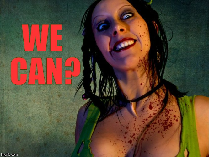 Chainsaw Sally psycho stalker,,, | WE CAN? | image tagged in chainsaw sally psycho stalker | made w/ Imgflip meme maker