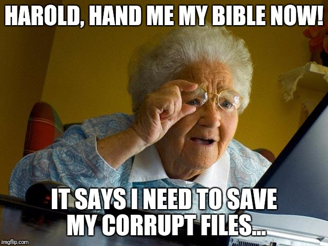 Grandma Finds The Internet Meme | HAROLD, HAND ME MY BIBLE NOW! IT SAYS I NEED TO SAVE MY CORRUPT FILES... | image tagged in memes,grandma finds the internet | made w/ Imgflip meme maker