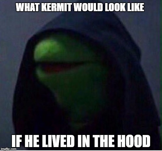 Bean's Memes | WHAT KERMIT WOULD LOOK LIKE IF HE LIVED IN THE HOOD | image tagged in just dark kermit | made w/ Imgflip meme maker