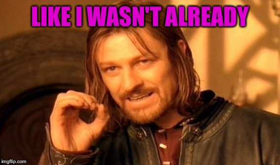 One Does Not Simply Meme | LIKE I WASN'T ALREADY | image tagged in memes,one does not simply | made w/ Imgflip meme maker