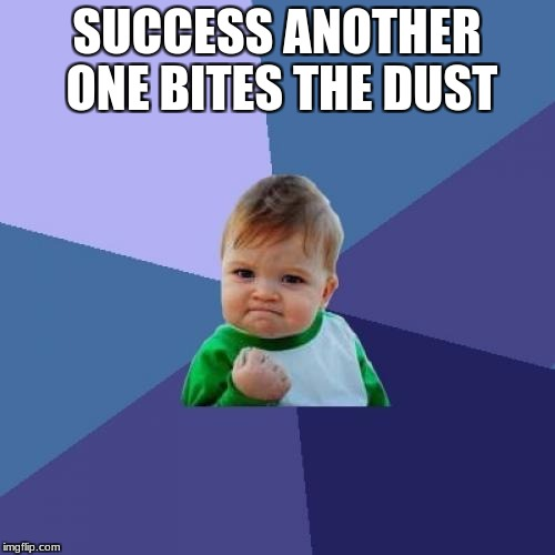 Success Kid Meme | SUCCESS ANOTHER ONE BITES THE DUST | image tagged in memes,success kid | made w/ Imgflip meme maker