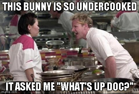 "*bites carrot and stares* | THIS BUNNY IS SO UNDERCOOKED IT ASKED ME ""WHAT'S UP DOC?"" 