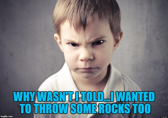WHY WASN'T I TOLD...I WANTED TO THROW SOME ROCKS TOO | made w/ Imgflip meme maker
