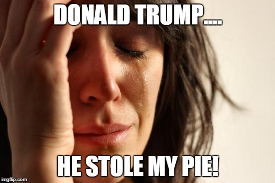 First World Problems Meme | DONALD TRUMP.... HE STOLE MY PIE! | image tagged in memes,first world problems | made w/ Imgflip meme maker