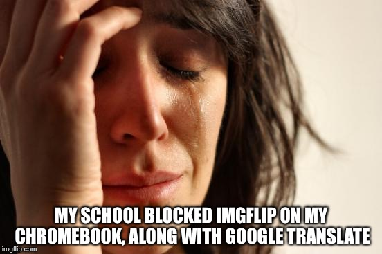 My worst nightmare has come true. I might only be seen on the weekends on this website. | MY SCHOOL BLOCKED IMGFLIP ON MY CHROMEBOOK, ALONG WITH GOOGLE TRANSLATE | image tagged in memes,first world problems,this is war,school,imgflip,hello darkness my old friend | made w/ Imgflip meme maker