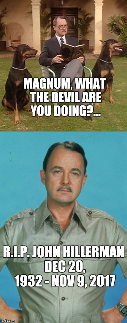 One of my favorite characters! Rest in peace Higgy Baby.  |  MAGNUM, WHAT THE DEVIL ARE YOU DOING?... R.I.P. JOHN HILLERMAN DEC 20, 1932 - NOV 9, 2017 | image tagged in magnum pi,john hillerman,jbmemegeek,rip,celebrity deaths | made w/ Imgflip meme maker