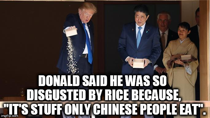 "Trump Dump Rice | DONALD SAID HE WAS SO DISGUSTED BY RICE BECAUSE, ""IT'S STUFF ONLY CHINESE PEOPLE EAT"". 