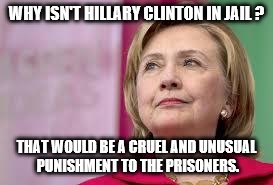 Hillary Clinton | WHY ISN'T HILLARY CLINTON IN JAIL ? THAT WOULD BE A CRUEL AND UNUSUAL PUNISHMENT TO THE PRISONERS. | image tagged in hillary clinton | made w/ Imgflip meme maker