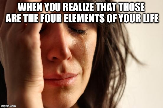 First World Problems Meme | WHEN YOU REALIZE THAT THOSE ARE THE FOUR ELEMENTS OF YOUR LIFE | image tagged in memes,first world problems | made w/ Imgflip meme maker