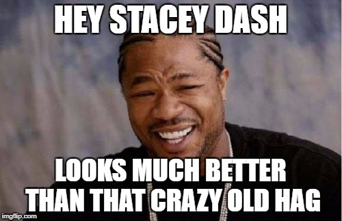 Yo Dawg Heard You Meme | HEY STACEY DASH LOOKS MUCH BETTER THAN THAT CRAZY OLD HAG | image tagged in memes,yo dawg heard you | made w/ Imgflip meme maker