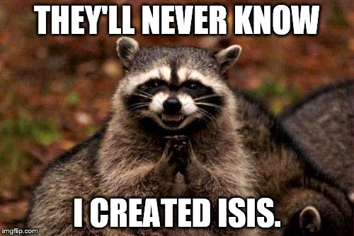 Evil Plotting Raccoon Meme | THEY'LL NEVER KNOW I CREATED ISIS. | image tagged in memes,evil plotting raccoon | made w/ Imgflip meme maker