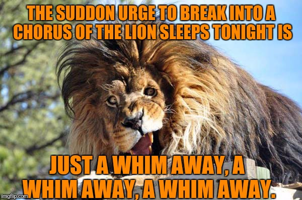 THE SUDDON URGE TO BREAK INTO A CHORUS OF THE LION SLEEPS TONIGHT IS JUST A WHIM AWAY, A WHIM AWAY, A WHIM AWAY. | made w/ Imgflip meme maker