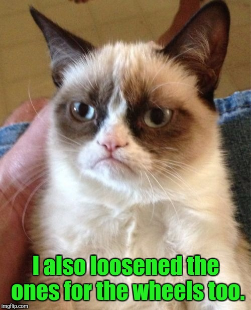 Grumpy Cat Meme | I also loosened the ones for the wheels too. | image tagged in memes,grumpy cat | made w/ Imgflip meme maker