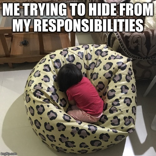 #relatable | ME TRYING TO HIDE FROM MY RESPONSIBILITIES | image tagged in lazy,tired of your shit,hide the pain,no more,done,funny | made w/ Imgflip meme maker