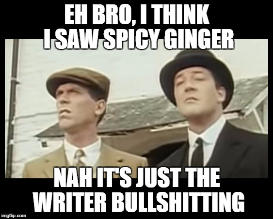 What the Heck is That, Jeeves? | EH BRO, I THINK I SAW SPICY GINGER NAH IT'S JUST THE WRITER BULLSHITTING | image tagged in what the heck is that,jeeves | made w/ Imgflip meme maker