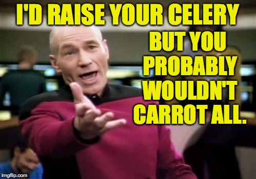Picard Wtf Meme | I'D RAISE YOUR CELERY BUT YOU PROBABLY WOULDN'T CARROT ALL. | image tagged in memes,picard wtf | made w/ Imgflip meme maker